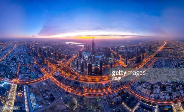 Dubai Downtown Urban Skyline
