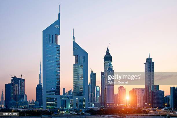 Dubai, Emirates Towers and Skyscrapers at Sunset