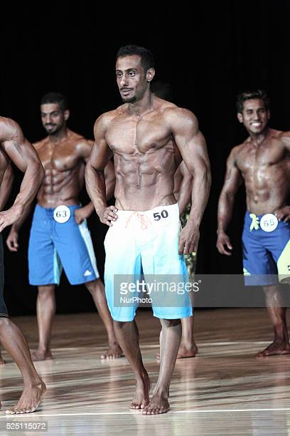 UAE Dubai Faisal AlZaabi posing Men's Physique Contest which helded in science and culture hall organised by Emirates Bodybuilding Federation with 6...
