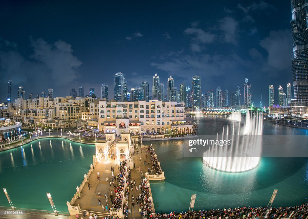 Dubai Fountain Show Burj Khalifa Uae Stock Photo | Getty Images