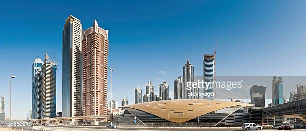 dubai futuristic metro station skyscrapers sheikh zayed road - underground station stock pictures, royalty-free photos & images
