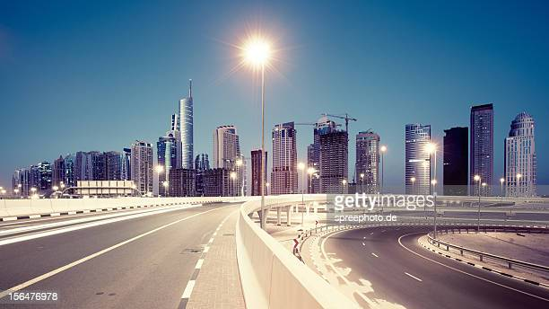 Dubai Highway with Skyline