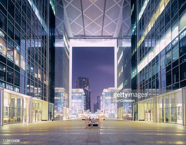 dubai international financial centre at dawn. - financial district stock pictures, royalty-free photos & images