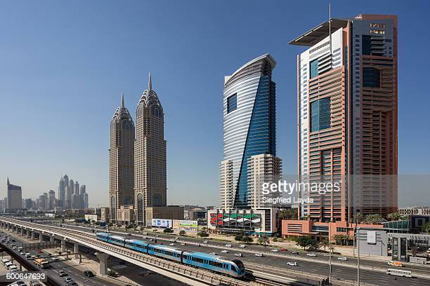 Dubai Internet City and Metro Train.