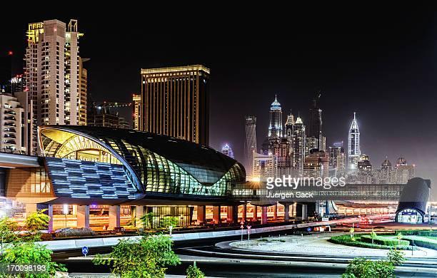 Dubai Jumeirah Lakes Towers Metro Station at night