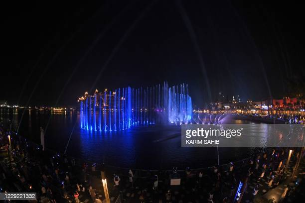 Dubai launches the Palm Fountain in a bid to break a Guinness World Record as the worlds' largest fountain at Palm Jumeirah on October 22, 2020.