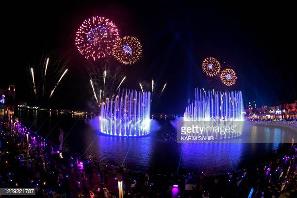 Dubai launches the Palm Fountain in a bid to break a Guinness World Record as the worlds' largest fountain, at Palm Jumeira on October 22, 2020. -...