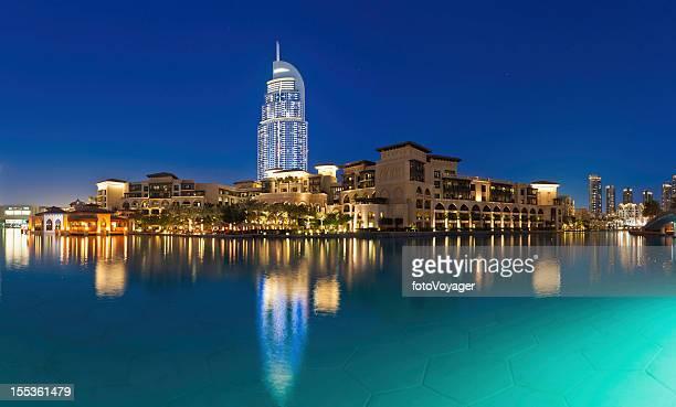Dubai luxury lakeside hotels and apartments illuminated UAE