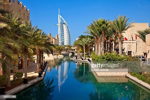dubai, madinat jumeirah and the burj al arab hotel - dubai stock pictures, royalty-free photos & images
