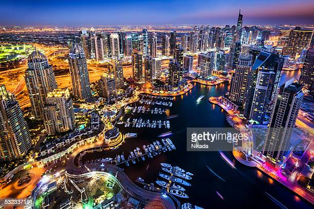 dubai marina at night - marina stock pictures, royalty-free photos & images