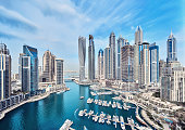 Dubai Marina City Skyline in the United Arab Emirates