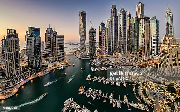 dubai marina in the evening - dubai stock pictures, royalty-free photos & images