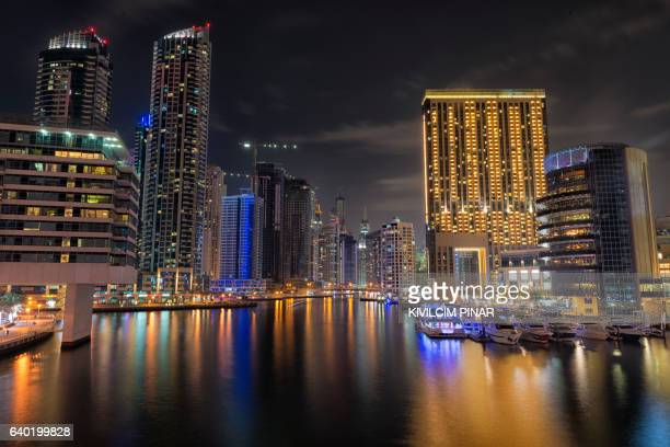 Dubai Marina night skyline