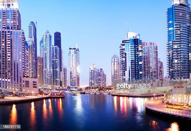 Dubai Marina Skyline at Night in the United Arab Emirates