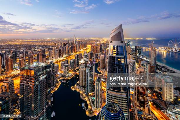 dubai marina skyline at sunrise - middle east stock pictures, royalty-free photos & images