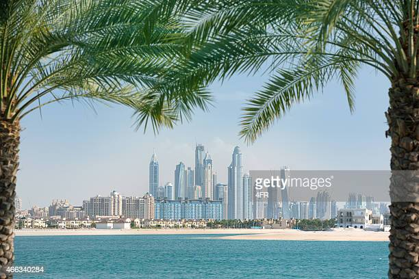 Dubai Marina Skyline framed by Palm Trees