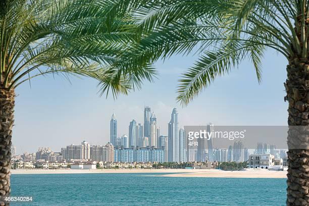 la marina de dubai horizonte enmarca por palmeras - dubái fotografías e imágenes de stock