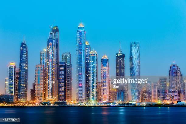Dubai Marina Skyline Illuminated at Dusk