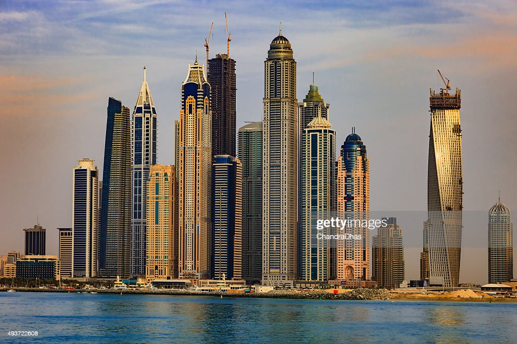 Dubai Marina Towers Uae Offshore Shot At Sunset Stock Photo | Getty ...