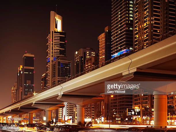 Dubai Metro RTA along Sheikh Zayed Road at night