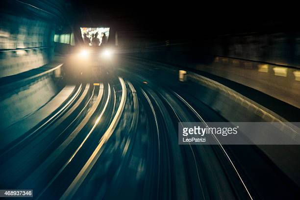 Dubai Metro train running fast in the tunnel