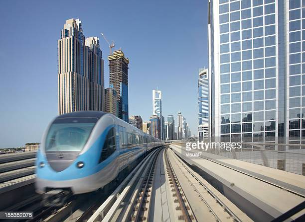 Dubai Metro with skyscrapers