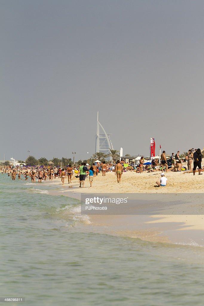 Dubai - People on Jumeirah Beach : Stock Photo