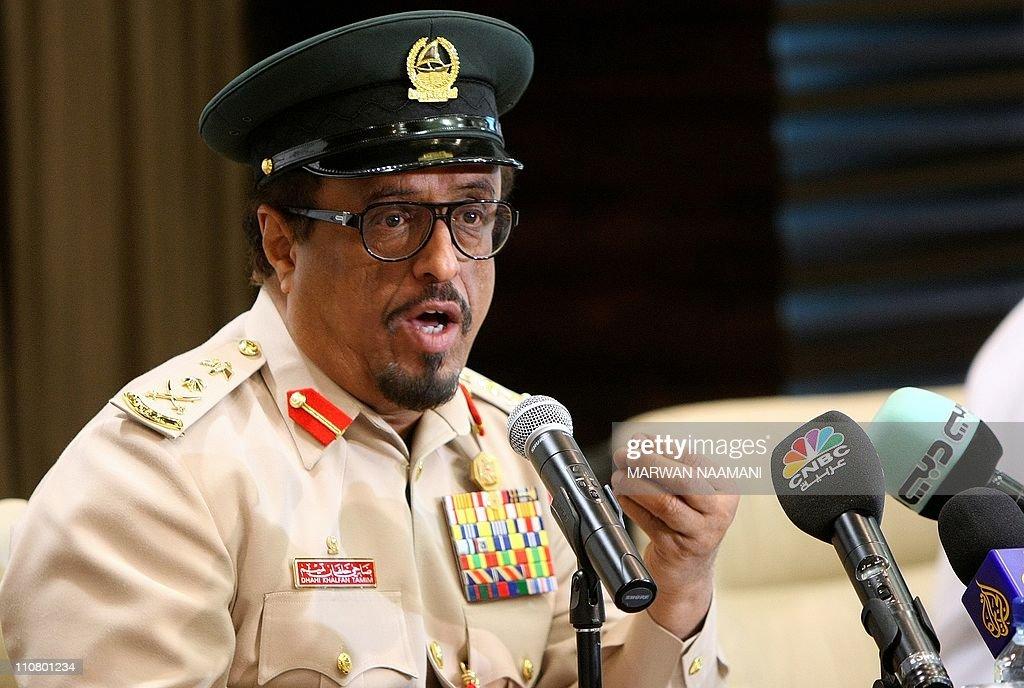 Dubai police chief Dahi Khalfan gestures : News Photo