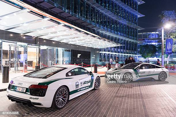 Dubai Police Supercar is displayed to celebrate Designing 007 Fifty Years of Bond Style at Burj Khalifa on November 13 2016 in Dubai United Arab...