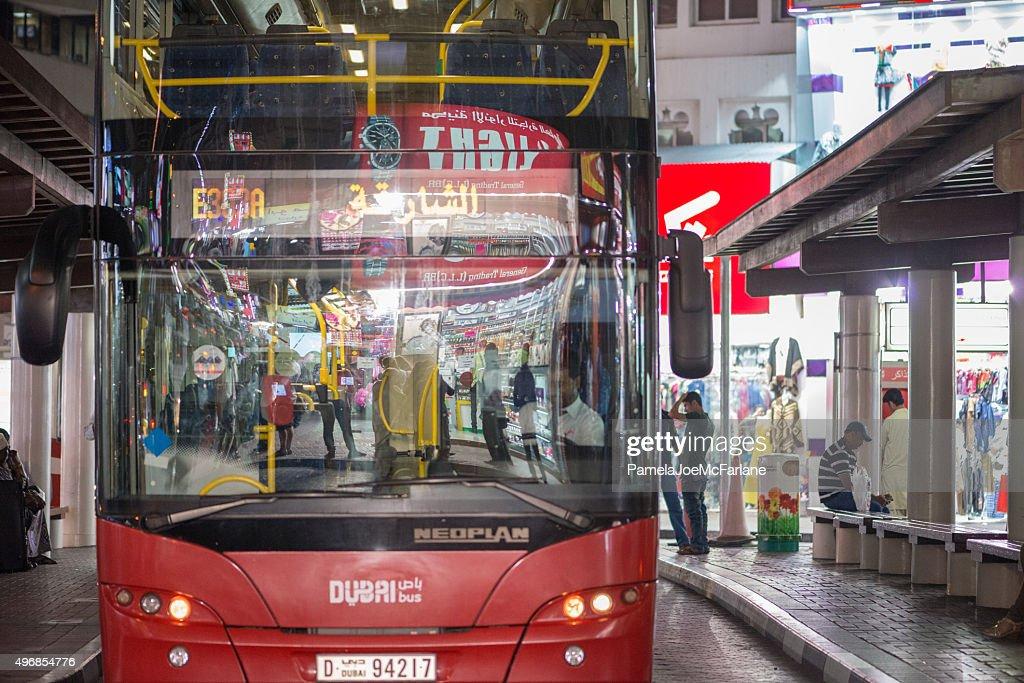 Dubai Public Transit Bus Waiting For Night Shoppers In Deira