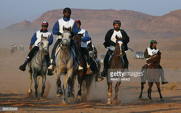 Dubai ruler Sheikh Mohammed bin Rashed alMaktoum who is also Emirati vice president and prime minister takes part in a horse endurance race in the...