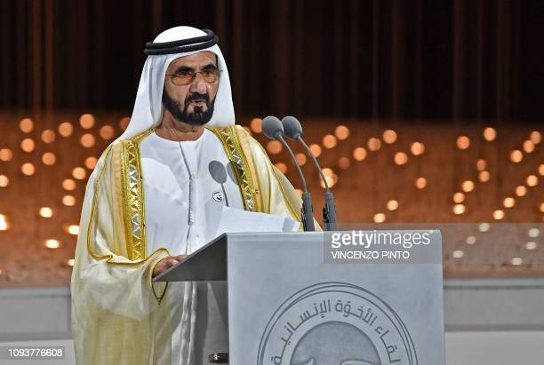 Dubai ruler Sheikh Mohammed bin Rashid Al-Maktoum delivers a speech during the Founders Memorial event in Abu Dhabi on February 4, 2019.