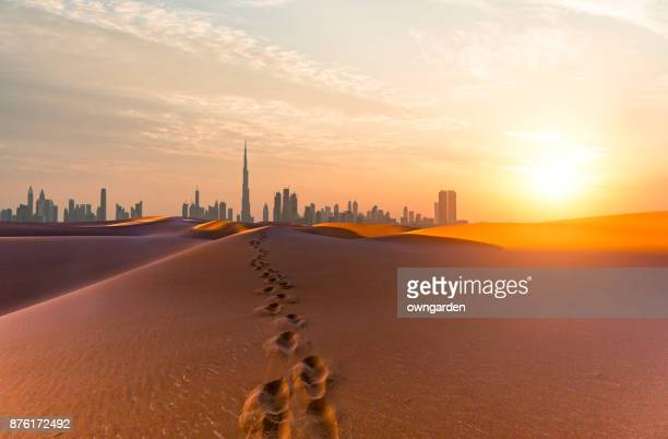 dubai scenery at sunrise - skyline stock pictures, royalty-free photos & images