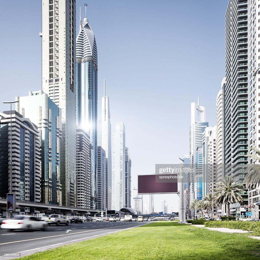 Dubai Sheikh Zayed road with roadtraffic : Stock Photo