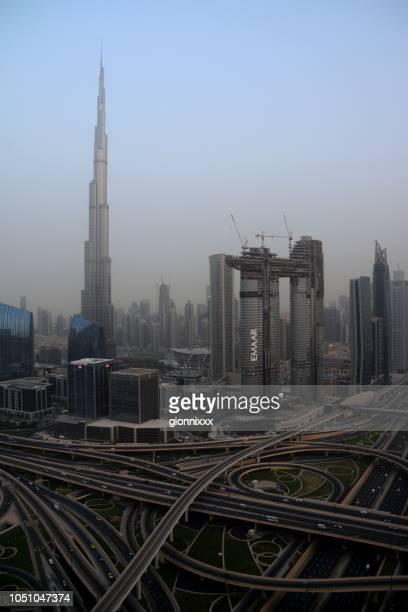 Skyline von Dubai in der Abenddämmerung, Vereinigte Arabische Emirate