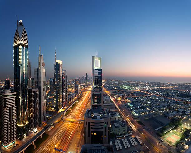 Dubai Skyline At Dusk, United Arab Emirates Wall Art
