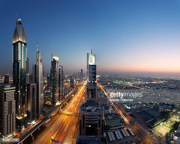 Dubai skyline at dusk, United Arab Emirates
