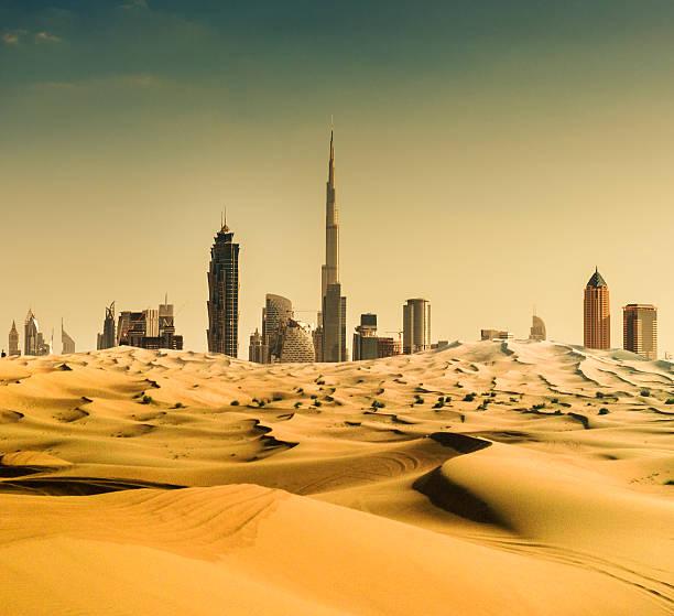 Dubai Skyline From The Desert Wall Art