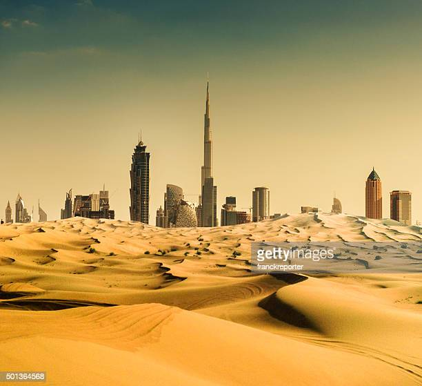 dubai skyline from the desert - skyline stock pictures, royalty-free photos & images