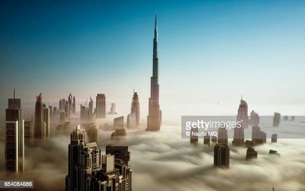 Dubai Skyline in early morning fog