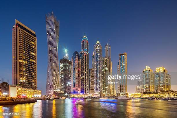 Dubai Skyline Marina at Night