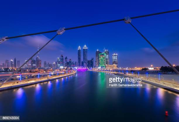 dubai skyline - canal stock pictures, royalty-free photos & images