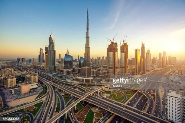 dubai skyline - burj khalifa stock photos and pictures