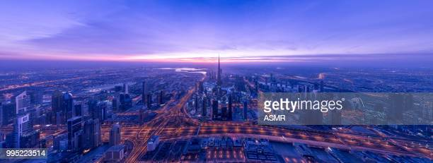 dubai skyline - panoramic stock pictures, royalty-free photos & images