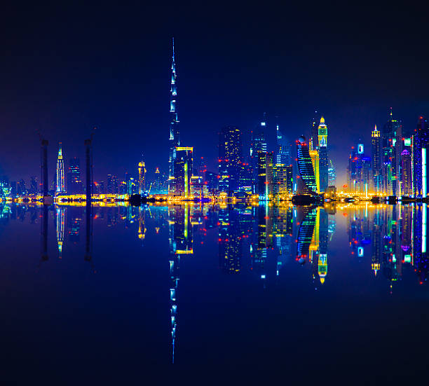 Dubai Skyline Reflection At Night Wall Art