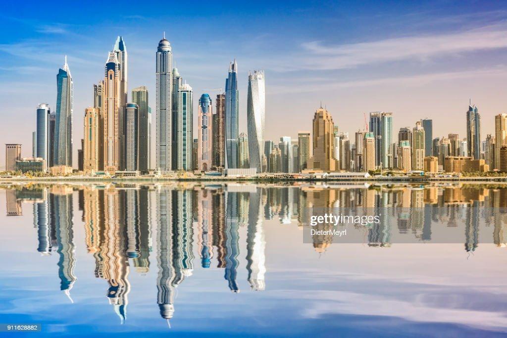 Dubai skyline reflection, Dubai Marina, United Arab Emirates : Stock Photo