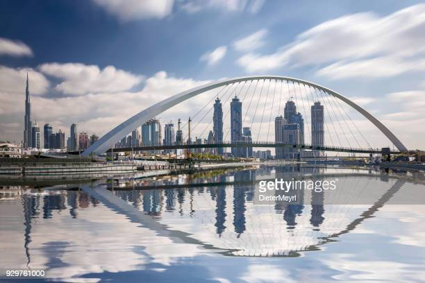 Dubai skyline reflection with burj khalifa,  United Arab Emirates