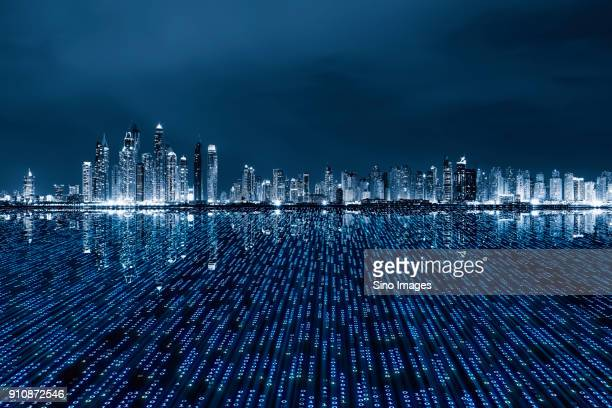 dubai skyline with binary perspective foreground, united arab emirates - image stock pictures, royalty-free photos & images