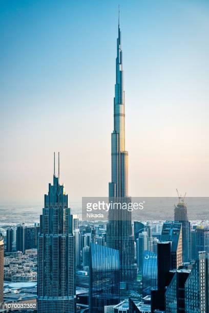 Dubai skyline with Burj Khalifa at night