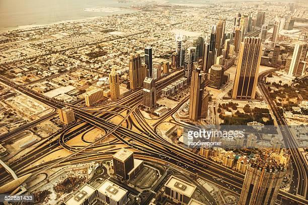 Del centro de la ciudad de dubai con vista aérea